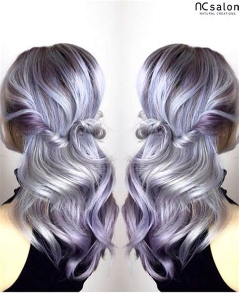 purple with silver silver purple balayage hair goals my hair
