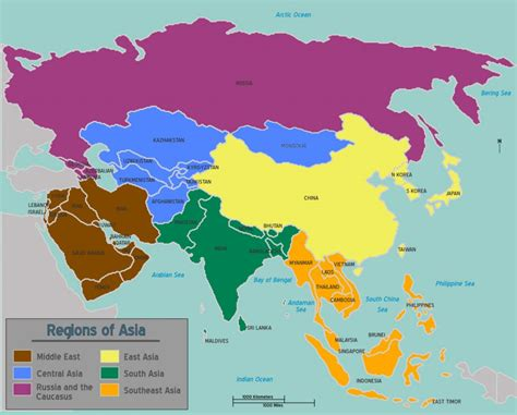 asie map learn all asian countries and territories in arabic part