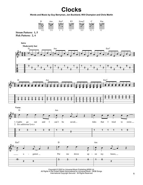 coldplay clocks chords clocks by coldplay easy guitar tab guitar instructor