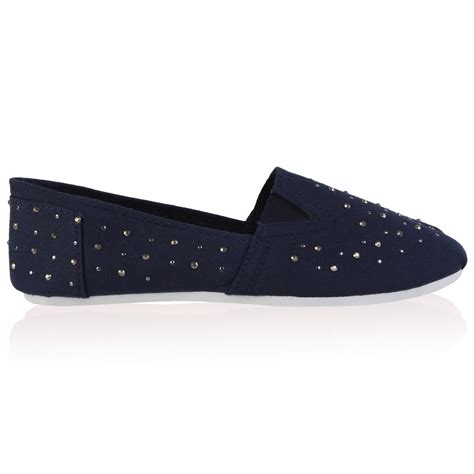 womens navy blue shoes flats new womens navy blue diamante canvas flat plimsolls