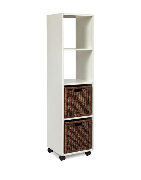 Rolling Bookcase Tower With Baskets Arason Enterprises White Tower Bookcase