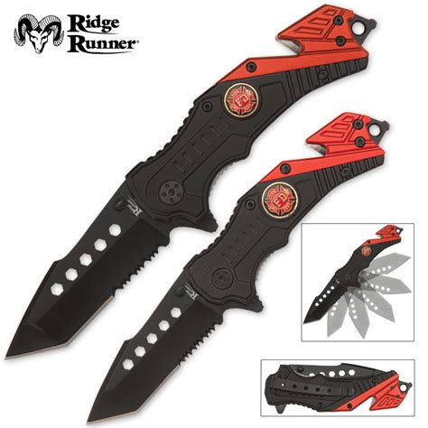 assisted opening rescue knife set firefighter budk knives
