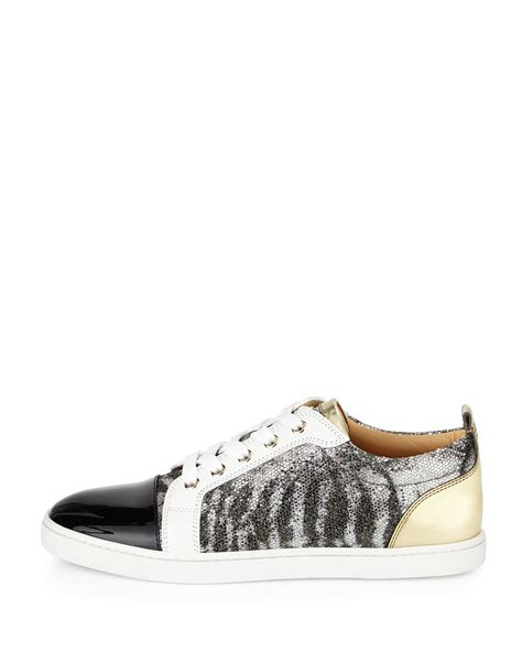 sneakers with glitter christian louboutin gondoliere glitter mixed leather