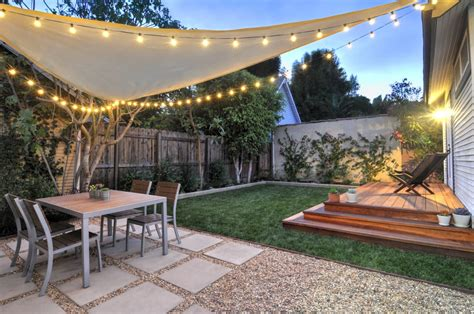 backyard sail shade west hollywood back yard redwood platform deck gravel