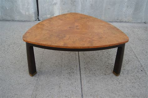 Triangular Coffee Table Triangular Burl Wood Coffee Table By Edward Wormley For Dunbar At 1stdibs