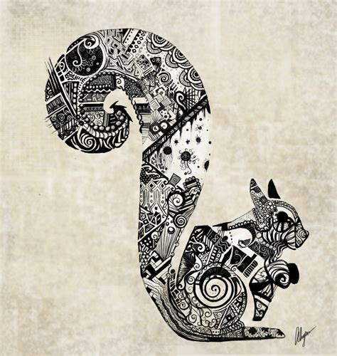 zentangle images google search zentangle art zentangle squirrel by somethinkindepth on deviantart