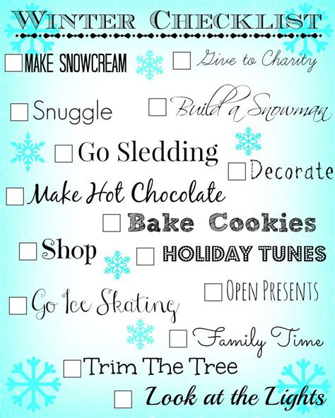 10 Things To Do With In Winter by Things To Do For Winter Checklist Printable