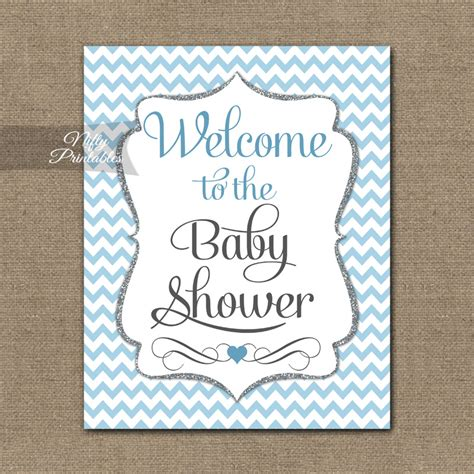 Welcome Baby Shower by Baby Shower Welcome Sign Blue Silver Chevron Nifty