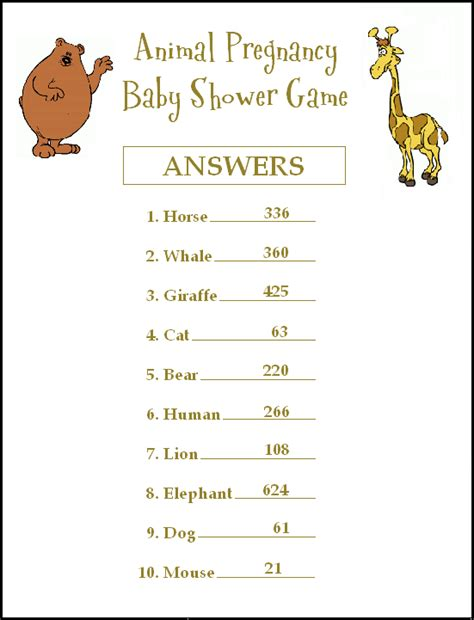 Free Printable Baby Shower With Answers by Answers For The Animal Pregnancy Baby Shower Ideas