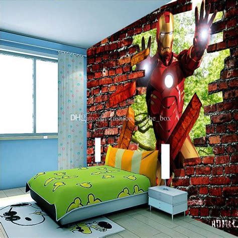 Wall Murals For Boys avengers iron man photo wallpaper 3d bricks wallpaper