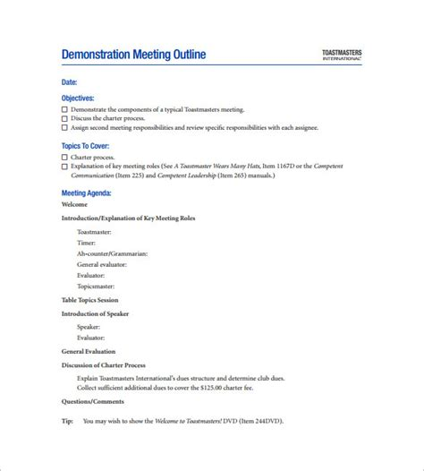 9 meeting outline templates free word pdf documents