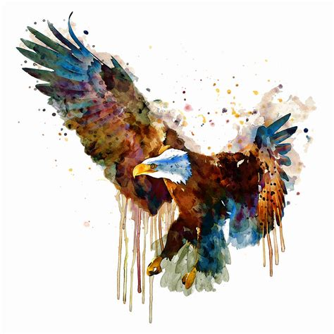 free and deadly eagle mixed media by marian voicu