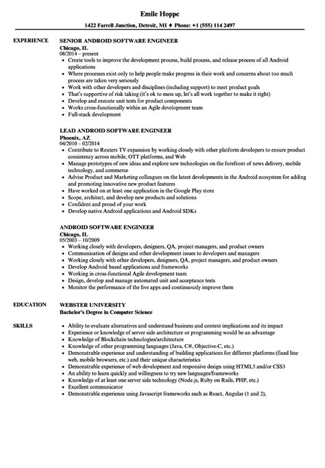 free resume templates for android android software engineer resume sles velvet jobs