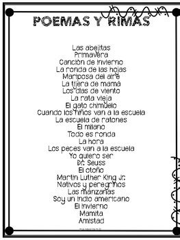 Spanish speaking Poemas y Rimas by La Maestra Feliz   TpT
