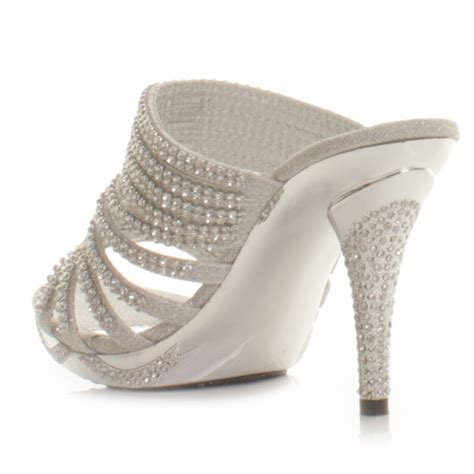 silver high heel shoes for prom womens diamante silver high heel prom mules shoes