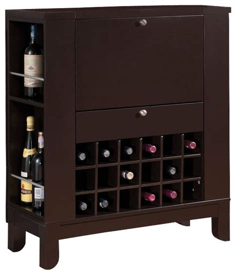 fold down bar cabinet dark brown fold down front shelves wine rack wooden bar