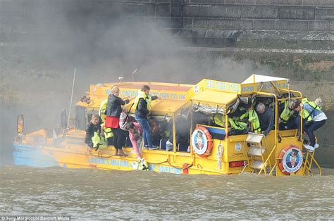 fire boat sinks thames duck boat fire terrified passengers jump overboard