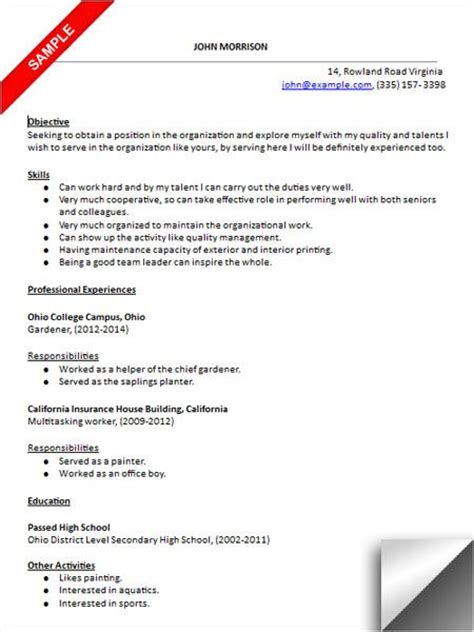 Entry Level Resume Sles High School Students 157 best images about resume exles on entry