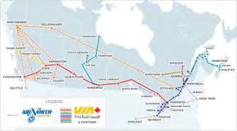 canada via rail map air deals and news air partners