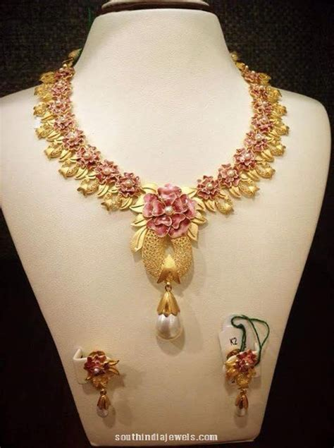 flower design necklace designer gold floral necklace with earrings south india