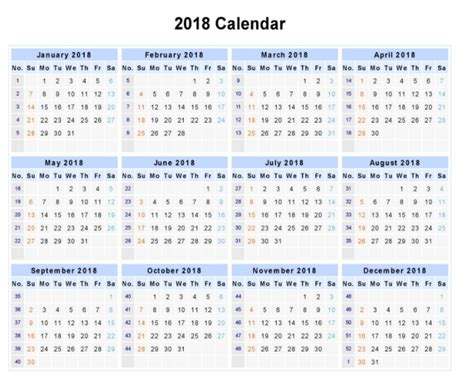 printable calendar year on one page calendar 2018 printable one page latest calendar