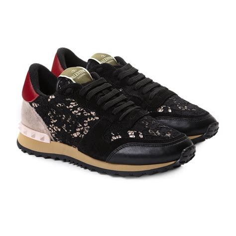 sneakers stores valentino macrame lace sneakers in black lyst