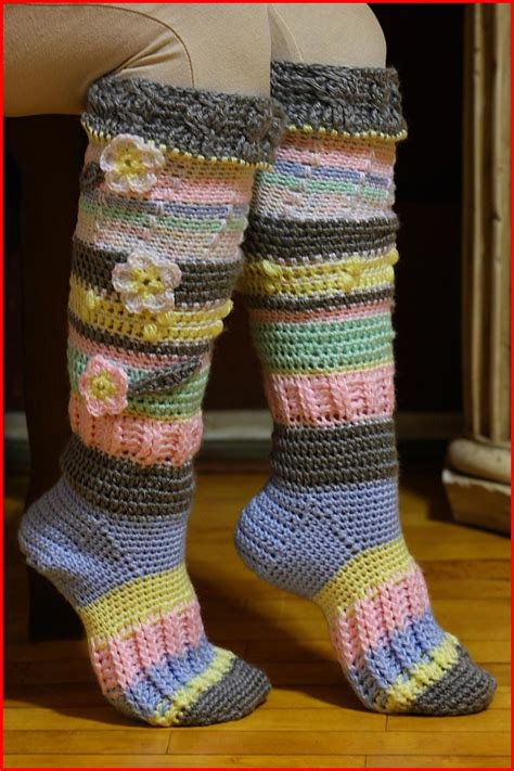 pattern for knee high socks with flowers knee high socks free crochet pattern knit and crochet