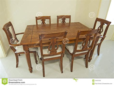 wooden dining table and chairs royalty free stock image