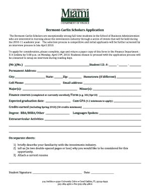 Of Miami Mba Application Deadline by Fax To Of Miami Fill Printable