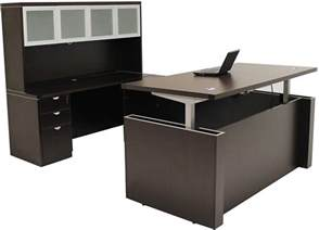 Height Of Office Desk Adjustable Height U Shaped Executive Office Desk W Hutch In Mocha