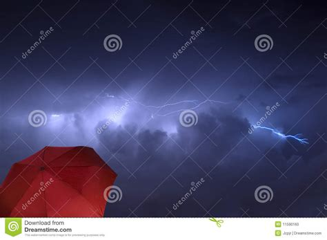 Shower During Lightning by Lightning Strike With Umbrella Stock Photo Image 11590160