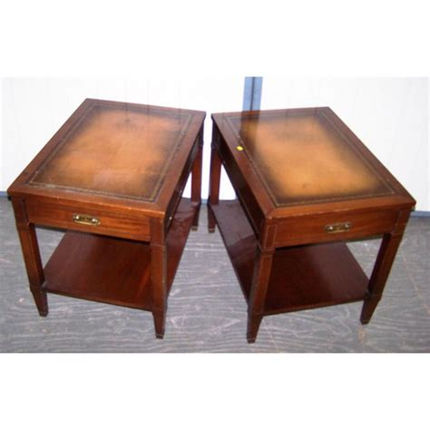 pair of end tables pair of leather inlay walnut end tables
