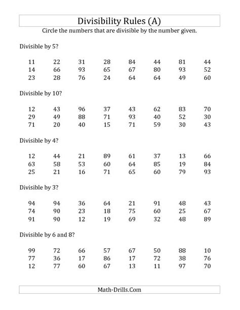 Divisibility Worksheets by Divisibility For Numbers From 2 To 10 6th Grade For Divisibility