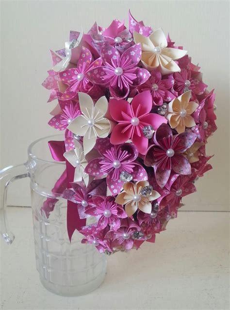 Simple Origami Flower Bouquet - paper flower origami bouquet wedding crystals cascade tear