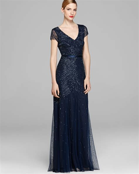 beaded gown papell gown cap sleeve beaded in blue navy lyst