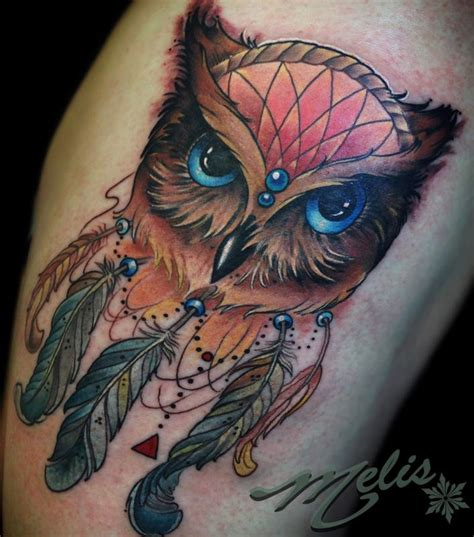 owl dream catcher by melissa fusco tattoonow