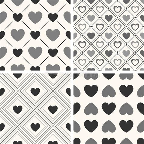 love shape pattern vector heart shape vector seamless patterns black and stock