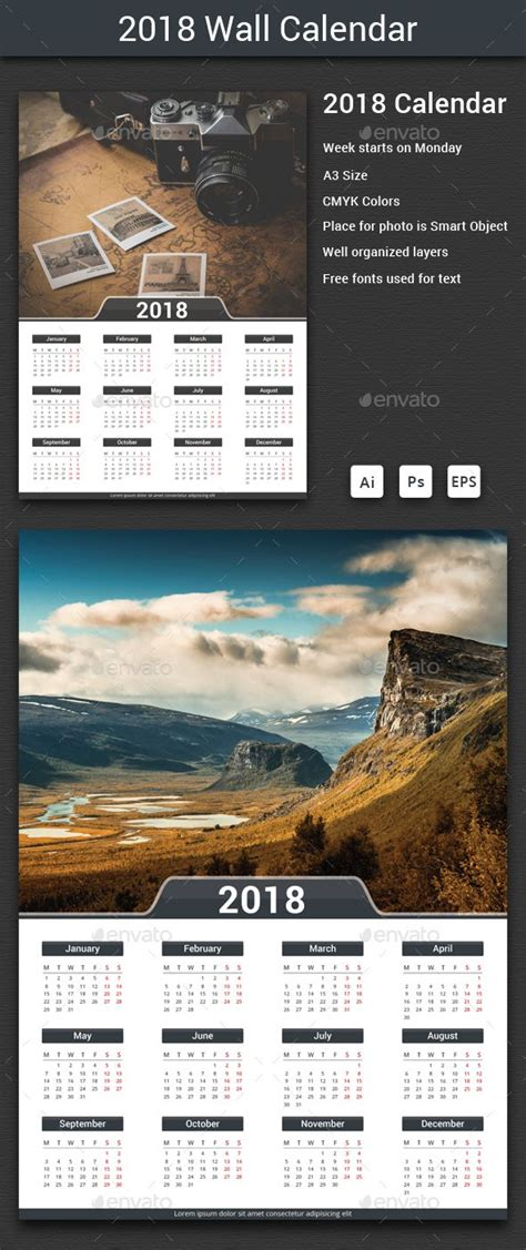 calendar template ai 2018 calendar ai illustrator template and print templates