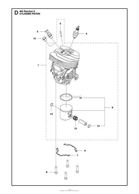 husqvarna  rancher ii parts diagram  cylinder piston