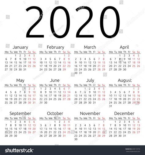 make free year calendar simple 2020 year calendar eps 8 stock vector 259113710