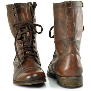 steve madden troopa cognac leather combat boot at