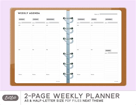 printable 2 page monthly planner 6 best images of weekly planner printable page 2 2 page