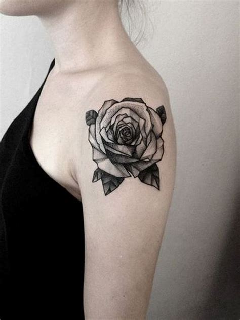 black tattoo rose 69 graceful roses shoulder tattoos