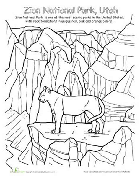 coloring pages utah zion national park education homeschooling