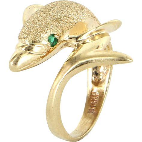 dolphin ring 14 karat yellow gold emerald vintage