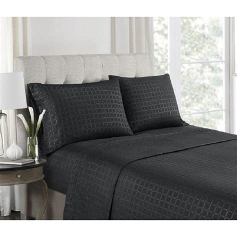 sheet set high point 4 black embossed microfiber sheet