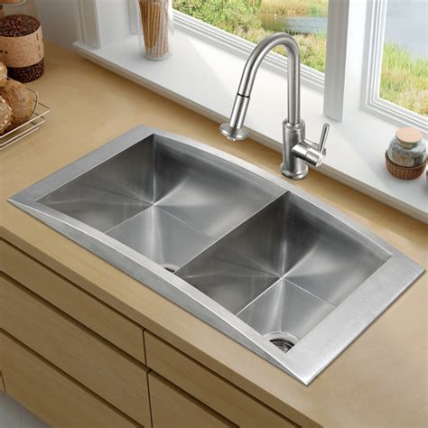 VG15116   Top Mount Stainless Steel Kitchen Sink, Faucet and Two Strainers