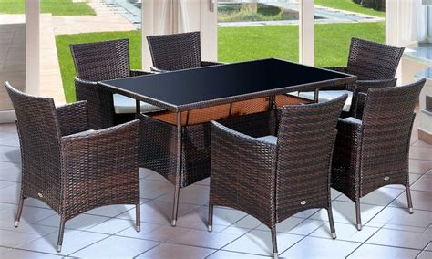 rattan effect dining garden furniture set with free