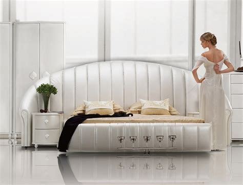 shell bed sea shell white tufted leather platform bed