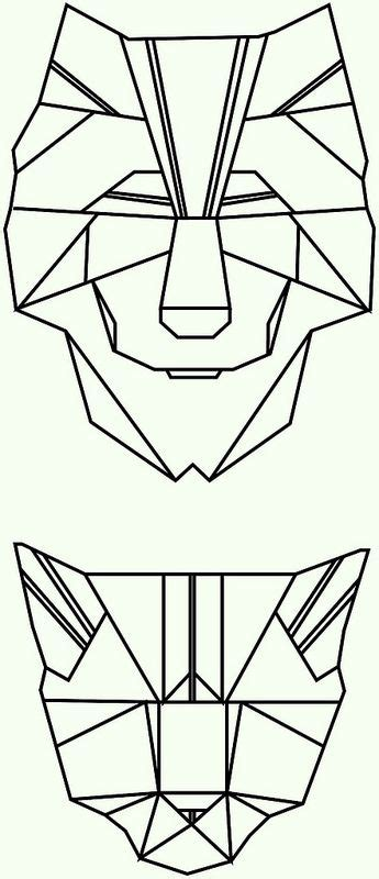 polygon tattoo polygon triangle geometrical wolf cat graphic